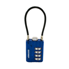 Замок навесной АЛЛЮР ВС1КТ-30/3 (H2) синий с тросиком кодовый d=3мм