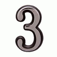 "Цифра дверная Аллюр пластик ""3"" хром"