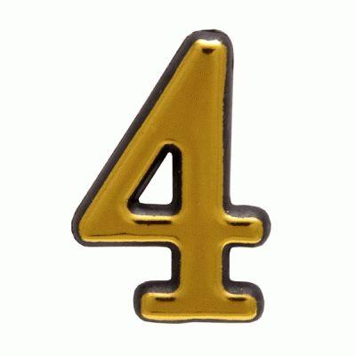 """Цифра дверная Аллюр Большая пластик """"4"""" золото"""