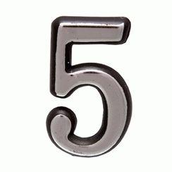"Цифра дверная Аллюр пластик ""5"" хром"