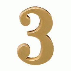 """Цифра дверная Аллюр """"3"""" на клеевой основе  золото"""