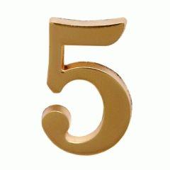 """Цифра дверная Аллюр """"5"""" на клеевой основе  золото"""