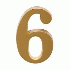 """Цифра дверная Аллюр """"6"""" на клеевой основе золото"""