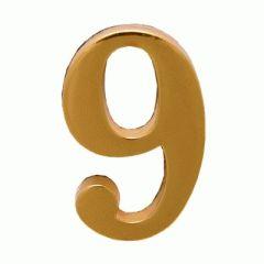 """Цифра дверная Аллюр """"9"""" на клеевой основе золото"""