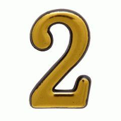 """Цифра дверная Аллюр пластик """"2"""" золото"""
