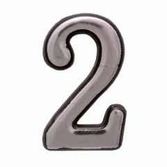 "Цифра дверная Аллюр пластик ""2"" хром"