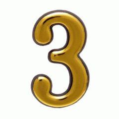 """Цифра дверная Аллюр пластик """"3"""" золото"""