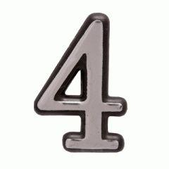 "Цифра дверная Аллюр пластик ""4"" хром"