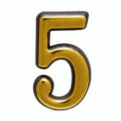 """Цифра дверная Аллюр пластик """"5"""" золото"""