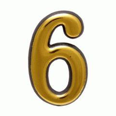 """Цифра дверная Аллюр пластик """"6"""" золото"""
