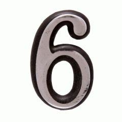 "Цифра дверная Аллюр пластик ""6"" хром"