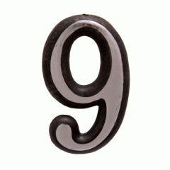 "Цифра дверная Аллюр пластик ""9"" хром"