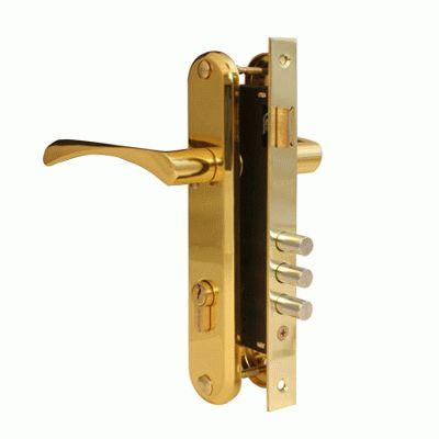 Замок врезной с ручкой Апекс 2223/60-G золото м/о 85