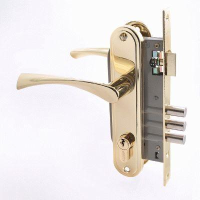 Замок врезной с ручкой АЛЛЮР 103/3 GP латунь 4 ключа