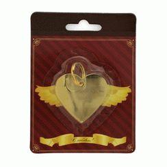 Брелок для гравировки - Сердечко  золото БЛИСТЕР