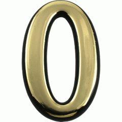 """Цифра дверная Аллюр Большая пластик """"0"""" золото"""