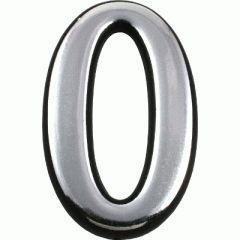 "Цифра дверная Аллюр Большая пластик ""0"" хром"