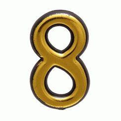 """Цифра дверная Аллюр Большая пластик """"8"""" золото"""