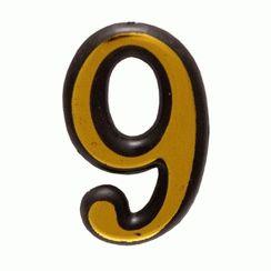 """Цифра дверная Аллюр Большая пластик """"9"""" золото"""