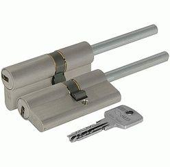 Цилиндровый механизм под вертушку (дл. шток) Cisa ASTRAL ОА317-87.12 (90 мм/55+10+25), НИКЕЛЬ