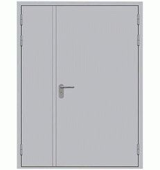 Противопожарная металлическая дверь двустворчатая (сплошное сечение)