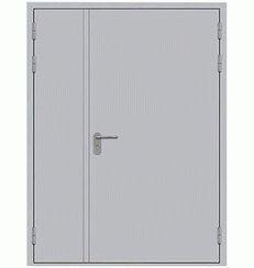 Металлическая противопожарная дверь двупольная сплошного сечения