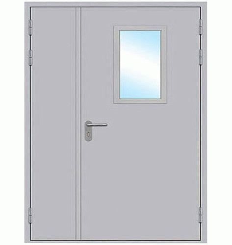 Огнеупорная дверь двупольная остеклённая (Стекло 300 * 600)