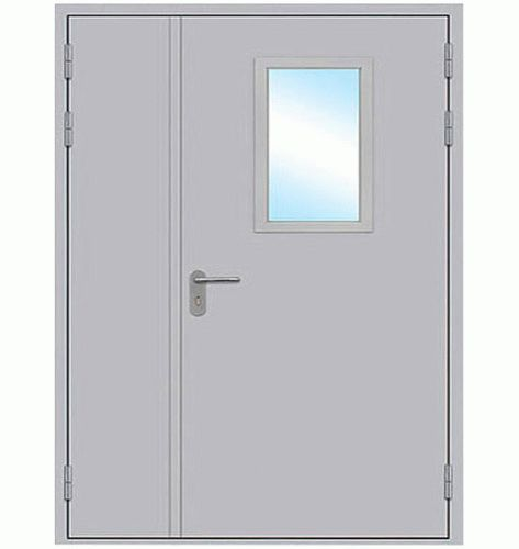 Противопожарная дверь двупольная стеклянная, размер стекла в свету 300 * 600