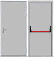 Огнеупорная дверь однопольная сплошного сечения