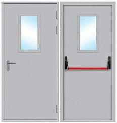 Противопожарная дверь однопольная стеклянная, размер стекла в свету 300 * 600