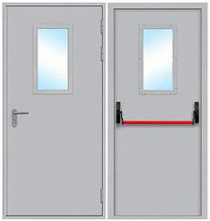 Противопожарная дверь однопольная остеклённая, размер стекла в свету 300 * 600