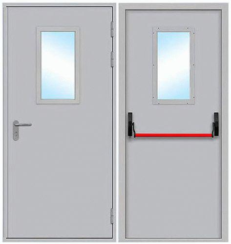 Противопожарные двери однопольные остеклённые, размер стекла в свету 300 * 600